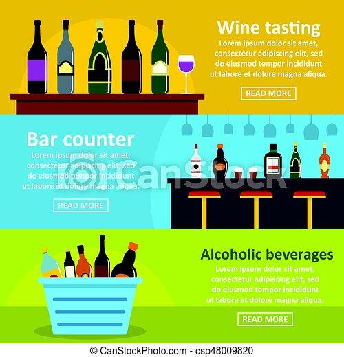 Estandarte horizontal de barras de vino, estilo plano - csp48009820