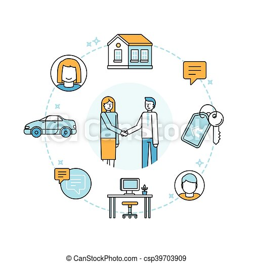 Ilustración de vectores en estilo lineal moderno - compartir la economía y el consumo colaborativo - csp39703909
