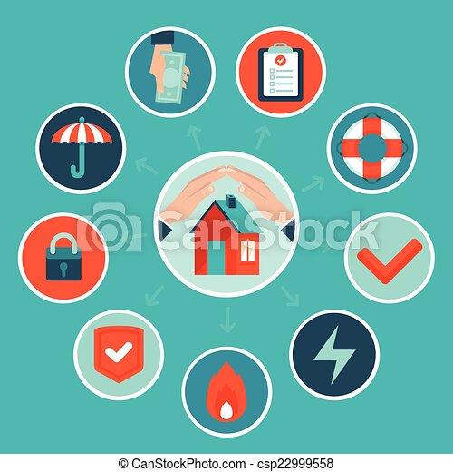 El concepto del seguro de la casa Vector al estilo plano - csp22999558