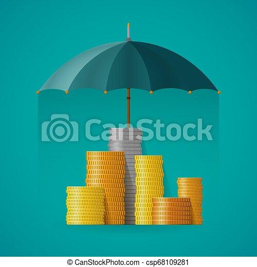 El concepto de vector financiero de seguro en estilo plano - csp68109281