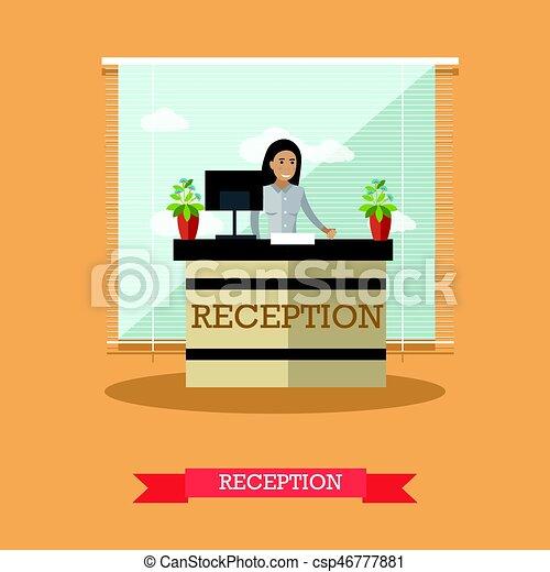 Ilustración de vectores de recepción del hotel al estilo plano - csp46777881