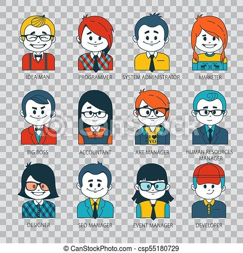 Un conjunto de personas iconos en estilo plano con caras. Gente avatares. Ilustración de fondo transparente - csp55180729