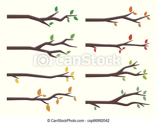 Un grupo de ramas de árbol en diseño plano - csp66992042