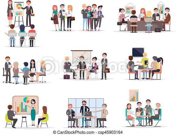 Reunión de negocios en estilo de dibujos animados - csp45903164