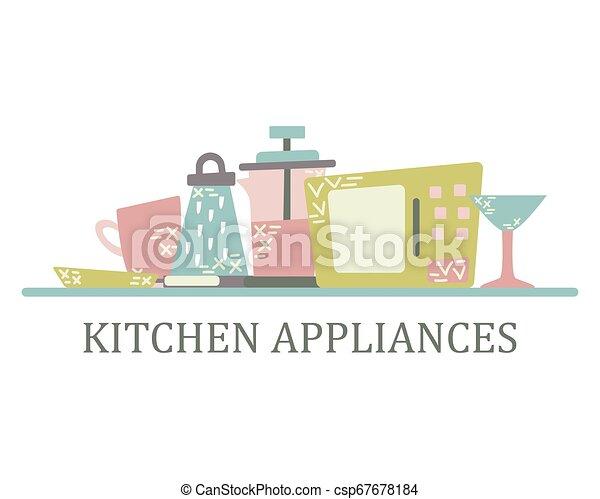 Aplicaciones de cocina en el estilo plano con garabatos. Utensilios para cocinar. Vector aislado - csp67678184