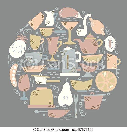 Aplicaciones de cocina en el estilo plano con garabatos. Utensilios para cocinar. Forma redonda. - csp67678189
