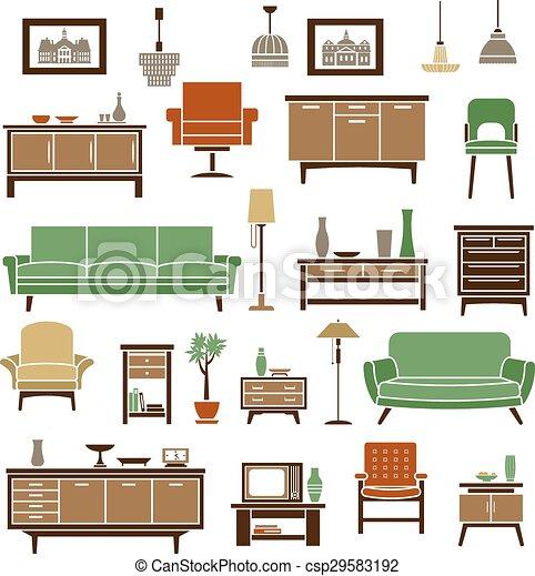 plano estilo elementos muebles hogar sof s