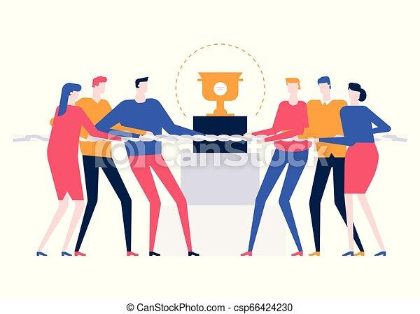 Competencia de negocios: ilustración de diseño plano colorido - csp66424230