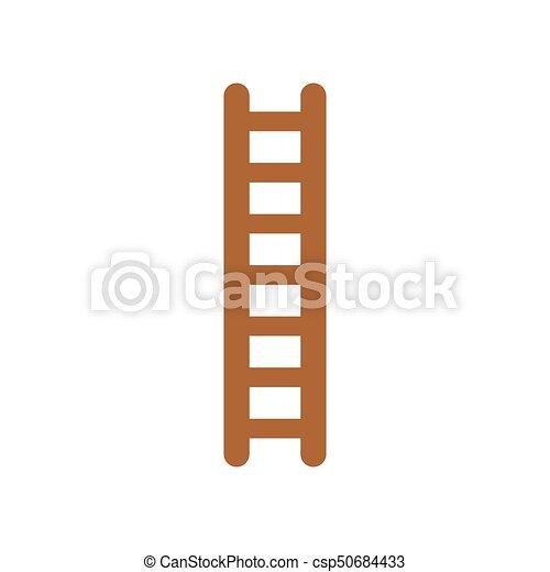 Vector de diseño plano de icono de escalera de madera en blanco - csp50684433