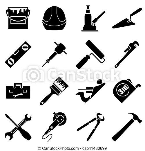 Plano, estilo, herramientas, ingeniería, colección, colores, negro ...