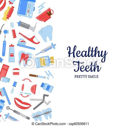Un fondo de higiene dental de estilo vector - csp60506611