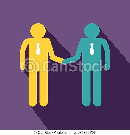 Dos hombres estrechando manos estilo icono plano - csp36352796