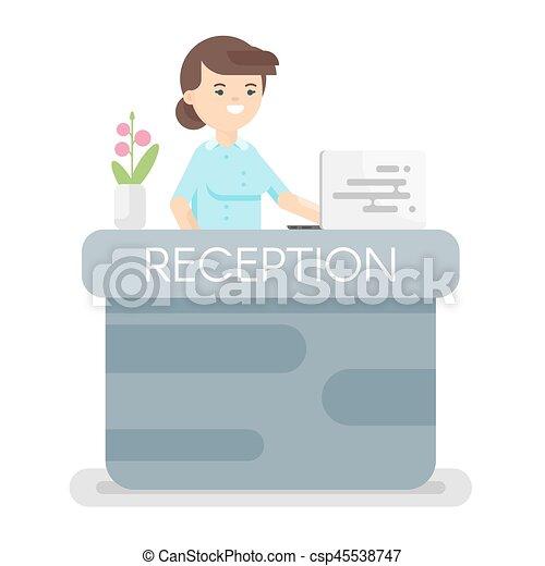 Ilustración de estilo Vector de la recepción del hotel. - csp45538747