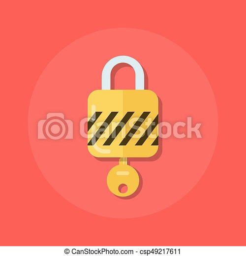Identidad o icono de logon. Padlock con una llave en un estilo plano. El proceso de abrir la cerradura. Ilustración vectorial de calidad de Premium en estilo plano aislado en el fondo blanco. - csp49217611
