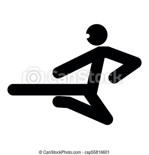 Ninja con palo de patada, icono de color negro ilustración plana estilo simple imagen - csp55816601