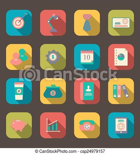 iconos planos de objetos de diseño web, negocios y artículos de oficina, estilo sombra larga - csp24979157