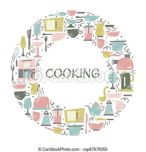 Aplicaciones de cocina en el estilo plano con garabatos. Utensilios para cocinar. Un cuadro redondo con un lugar para el texto. - csp67678355