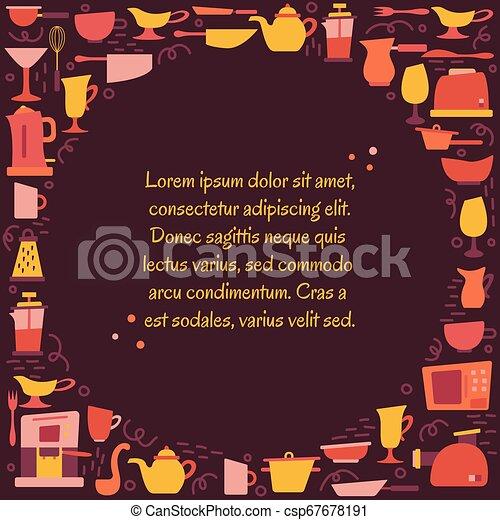 Aplicaciones de cocina en el estilo plano con garabatos. Utensilios para cocinar. Un cuadro redondo con un lugar para el texto. - csp67678191