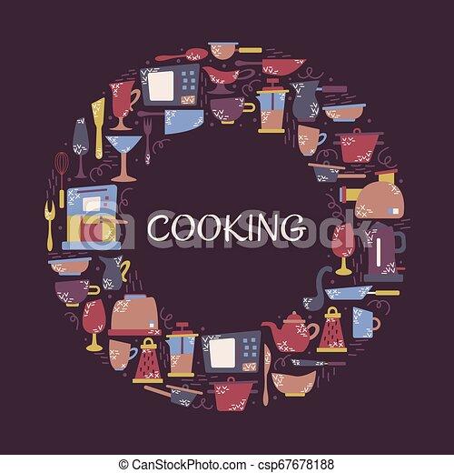 Aplicaciones de cocina en el estilo plano con garabatos. Utensilios para cocinar. Un cuadro redondo con un lugar para el texto. - csp67678188