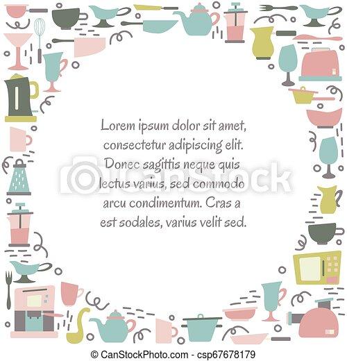 Aplicaciones de cocina en el estilo plano con garabatos. Utensilios para cocinar. Un cuadro redondo con un lugar para el texto. - csp67678179