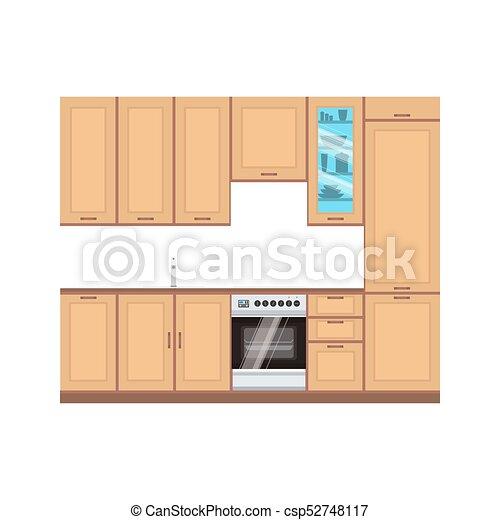 plano, estilo, moderno, estufa, room., comida de cocina, ilustración,  línea., vector, diseño, interior, cocina casera, dibujo, muebles