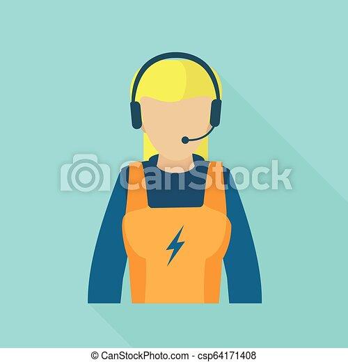 Un ícono del centro de llamadas eléctrico, estilo plano - csp64171408