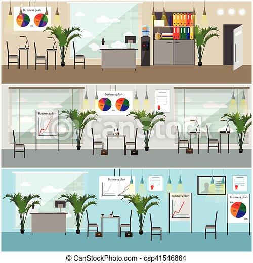 Interior de oficina. Ilustración de vectores en diseño plano. Cuartos modernos con muebles - csp41546864
