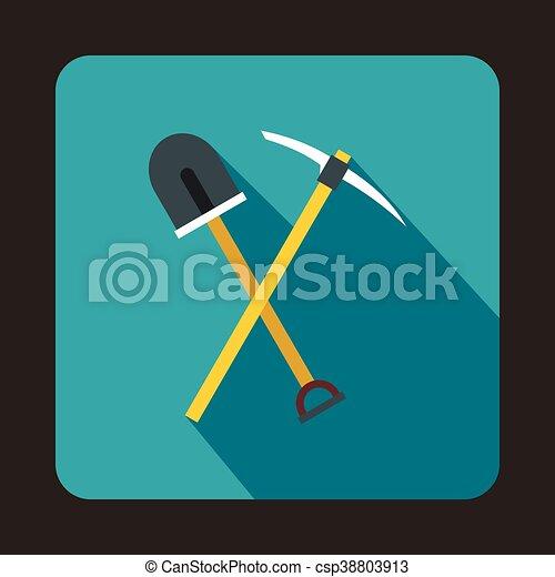 Recoger herramientas y pala icono, estilo plano - csp38803913