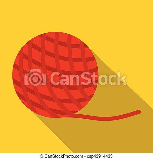 Juguete de bola de hilo para gato icono, estilo plano - csp43914433