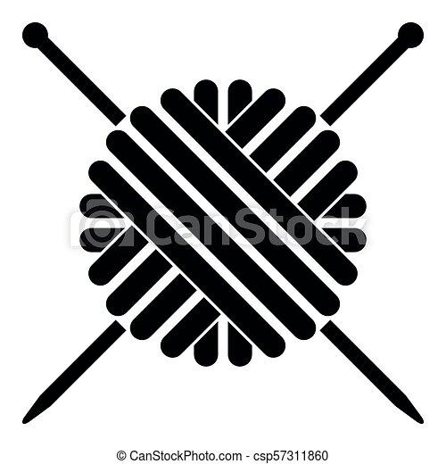 plano, estilo, pelota, tejido de punto, imagen del color, hilo, simple, agujas, negro, ilustración, lana, icono - csp57311860