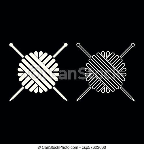Bola de hilo de lana y agujas de tejer. El ícono de color blanco, ilustración plana, simple imagen - csp57623060