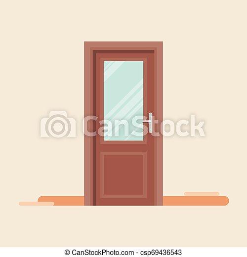El icono de la puerta al estilo plano - csp69436543