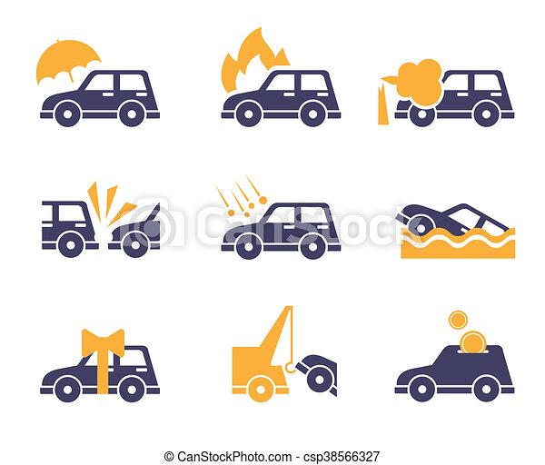 Iconos de seguro de coche en estilo plano - csp38566327