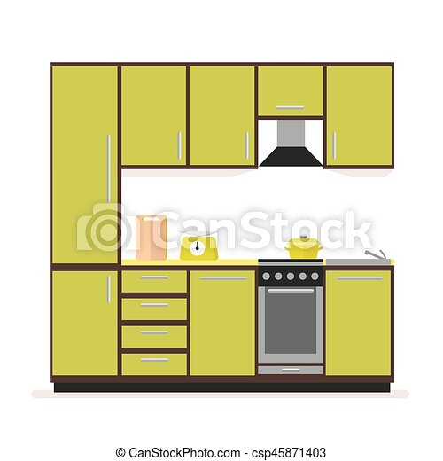 plano, estilo, set., moderno, aislado, fondo., blanco, muebles, cocina