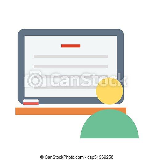 Icono plano de estudio en línea - csp51369258