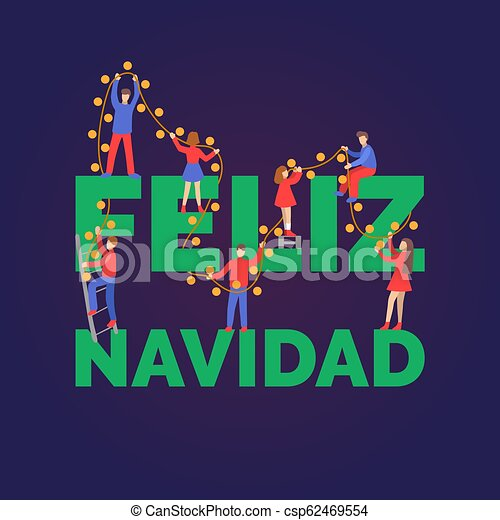 Plano Frase Gente Feliz Lights Navidad Alegre Español Navidad Hada Translated Decorar Manuscrito