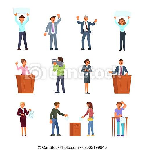 Gente involucrada en el proceso electoral vector de ilustración plana - csp63199945