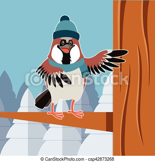Un gorrión feliz con sombrero en el fondo plano del árbol - csp42873268