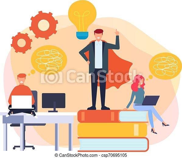 La mejor idea del concepto de trabajador de oficina. Trabajando en equipo. Ilustración de diseño gráfico de diseño plano Vector - csp70695105