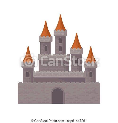 Castillo de fantasía medieval. Gran fortaleza real con torres altas y techos cónicos rojos. Elemento vectorial plano para el juego móvil - csp61447261