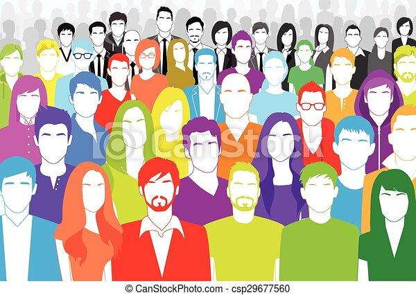 Un grupo de personas se enfrentan a una gran multitud diversa colorido plano - csp29677560