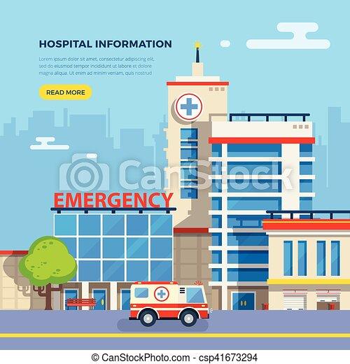 Plano, hospital, ilustración. Edificio, plano, emergencia ...