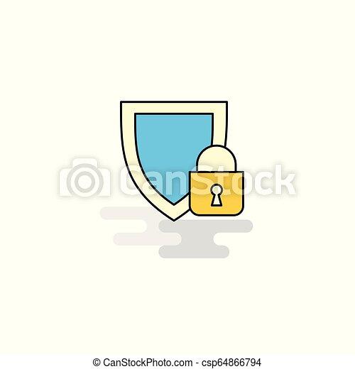 icono protegido plano. Vector - csp64866794