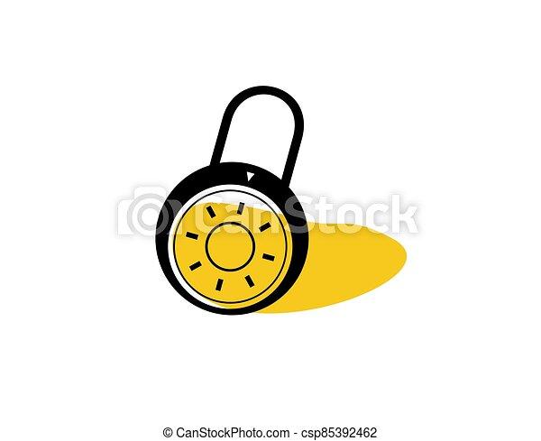 plano, icono, cerrado, plano de fondo, ilustración, blanco, vector, candado - csp85392462