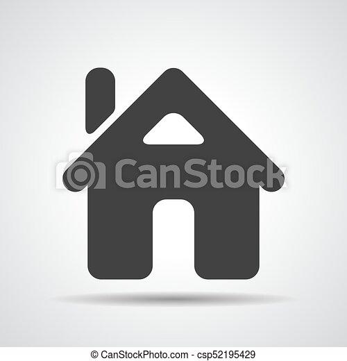 Un icono de casa plano en el fondo gris - csp52195429