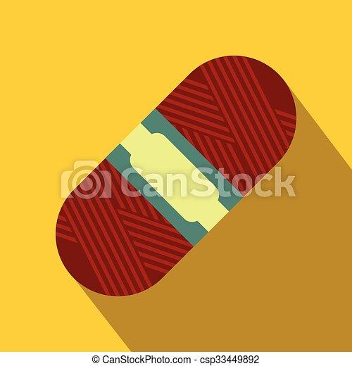 plano, icono, lana, rojo, madeja - csp33449892