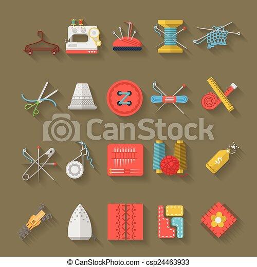 Recolección de vectores de diseño plano de objetos de costura - csp24463933