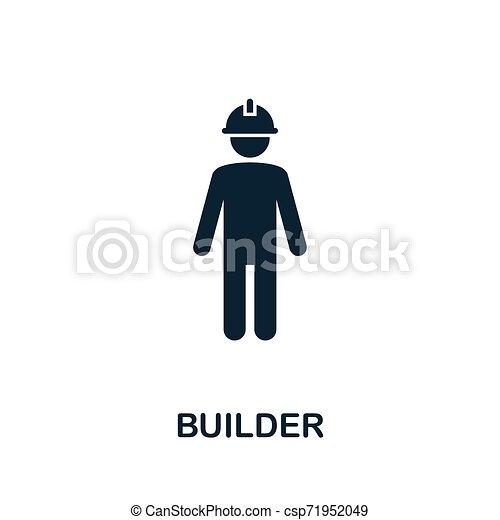 El símbolo del vector vector vectorial. Señal creativa de la colección de iconos de herramientas de construcción. Llené el icono de la constructora plana por ordenador y móvil - csp71952049
