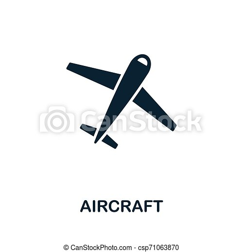 Simbolo de vector de aeronave. Señal creativa de la colección de iconos. Llené el icono de avión plano por computadora y celular - csp71063870
