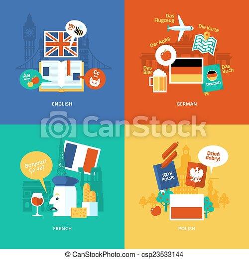 Un conjunto de iconos de diseño plano para idiomas extranjeros. - csp23533144